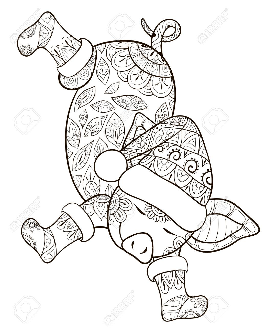 Christmas Boots Drawing.A Cute Dancing Pig Wearing A Christmas Cap And Boots With Zen