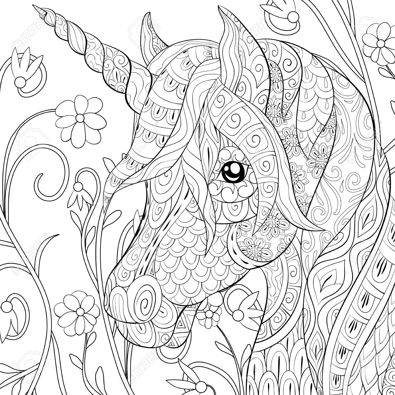 A cute unicorn with ornaments image for relaxing.A coloring book,page for adults.Zen art style illustration for print.Poster design, - 114296372