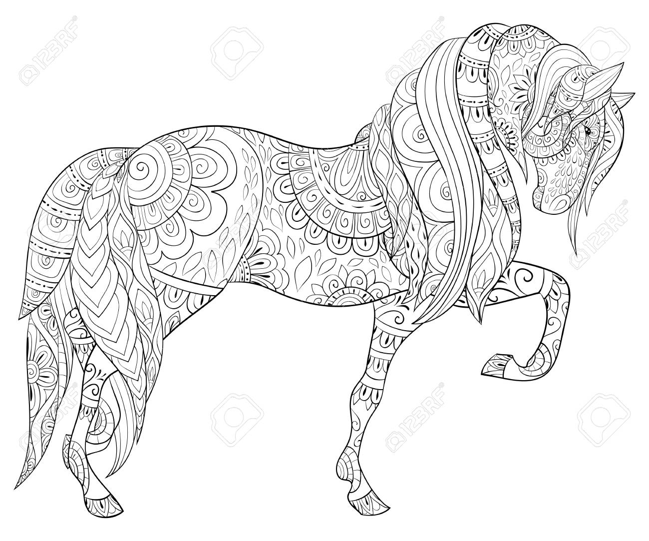 A Cute Horse With Ornaments Image For Adults Zen Art Style Illustration Royalty Free Cliparts Vectors And Stock Illustration Image 114296503
