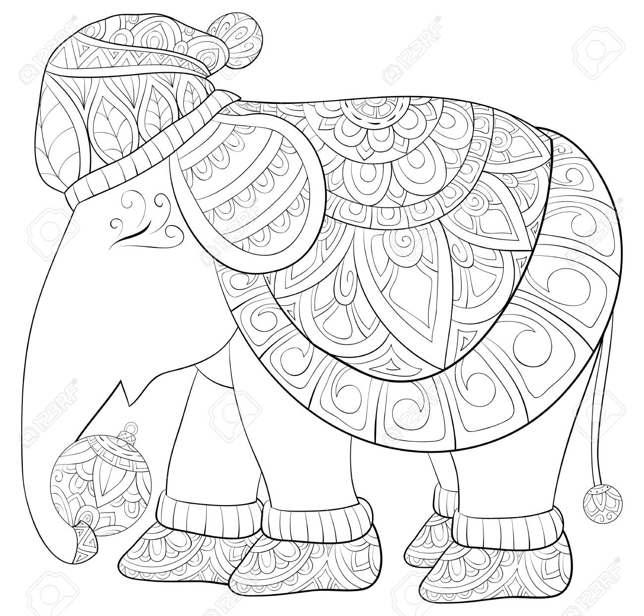 Christmas Boots Drawing.A Cute Elephant Wearing A Christmas Cap And Boots With Decoration