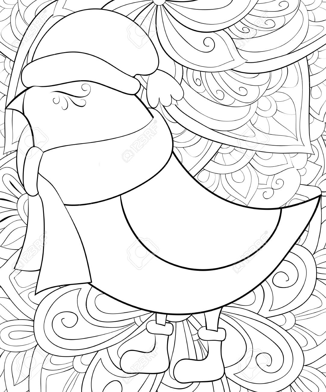 Christmas Boots Drawing.A Cute Bird Wearing A Christmas Cap Scarf And Boots On The