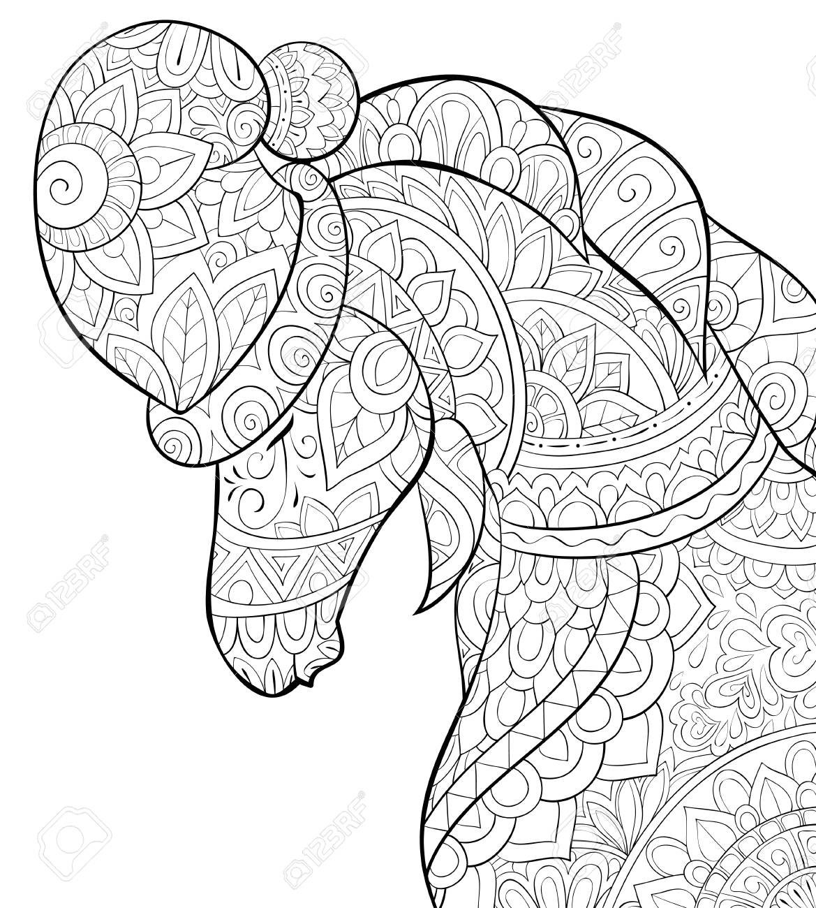 Christmas Horse Drawing.A Cute Horse Wearing A Christmas Cap With Ornaments Image For