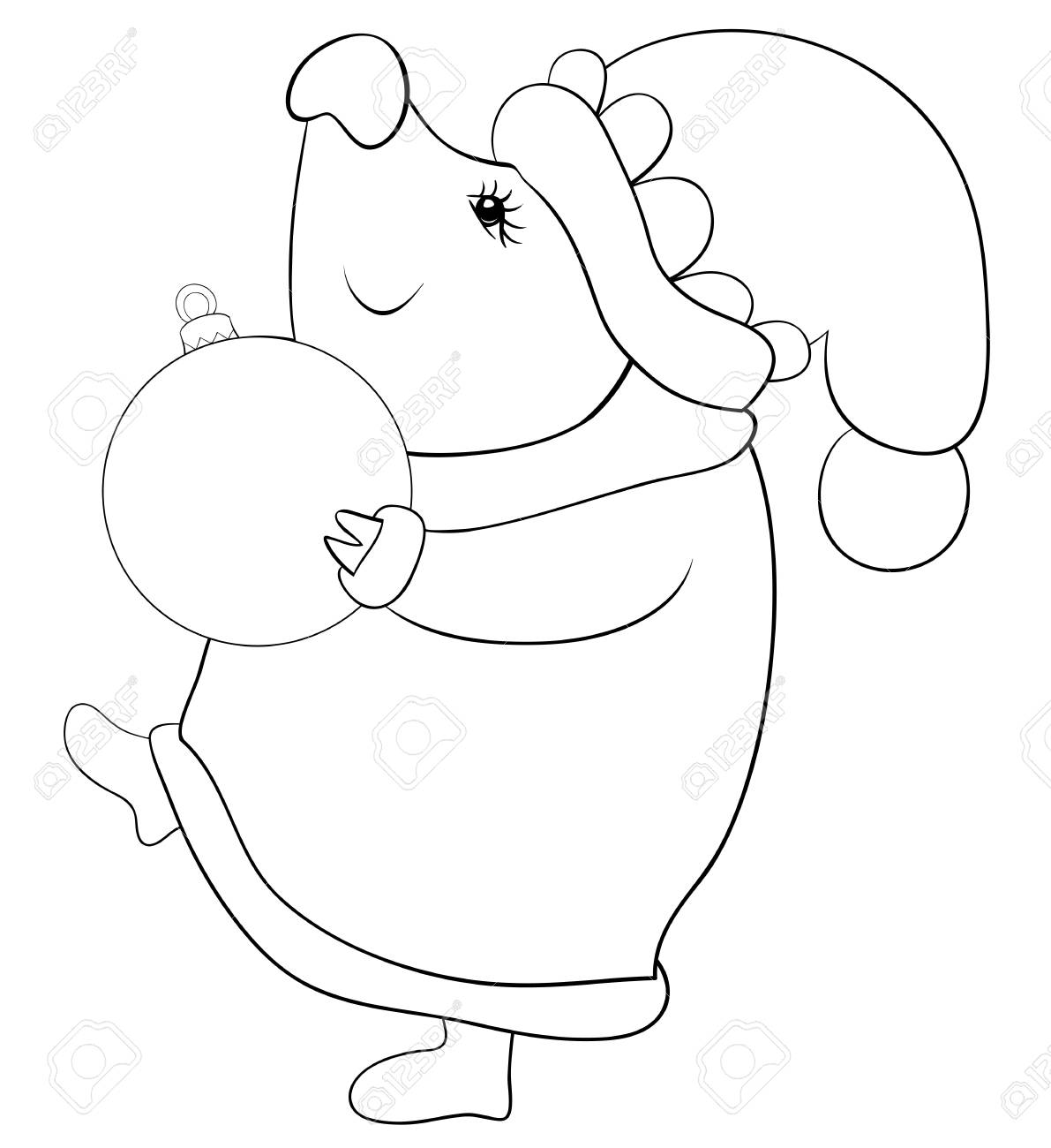 Christmas Boots Drawing.A Cartoon Pig Wearing A Christmas Cap Scarf Waistcoat Gloves