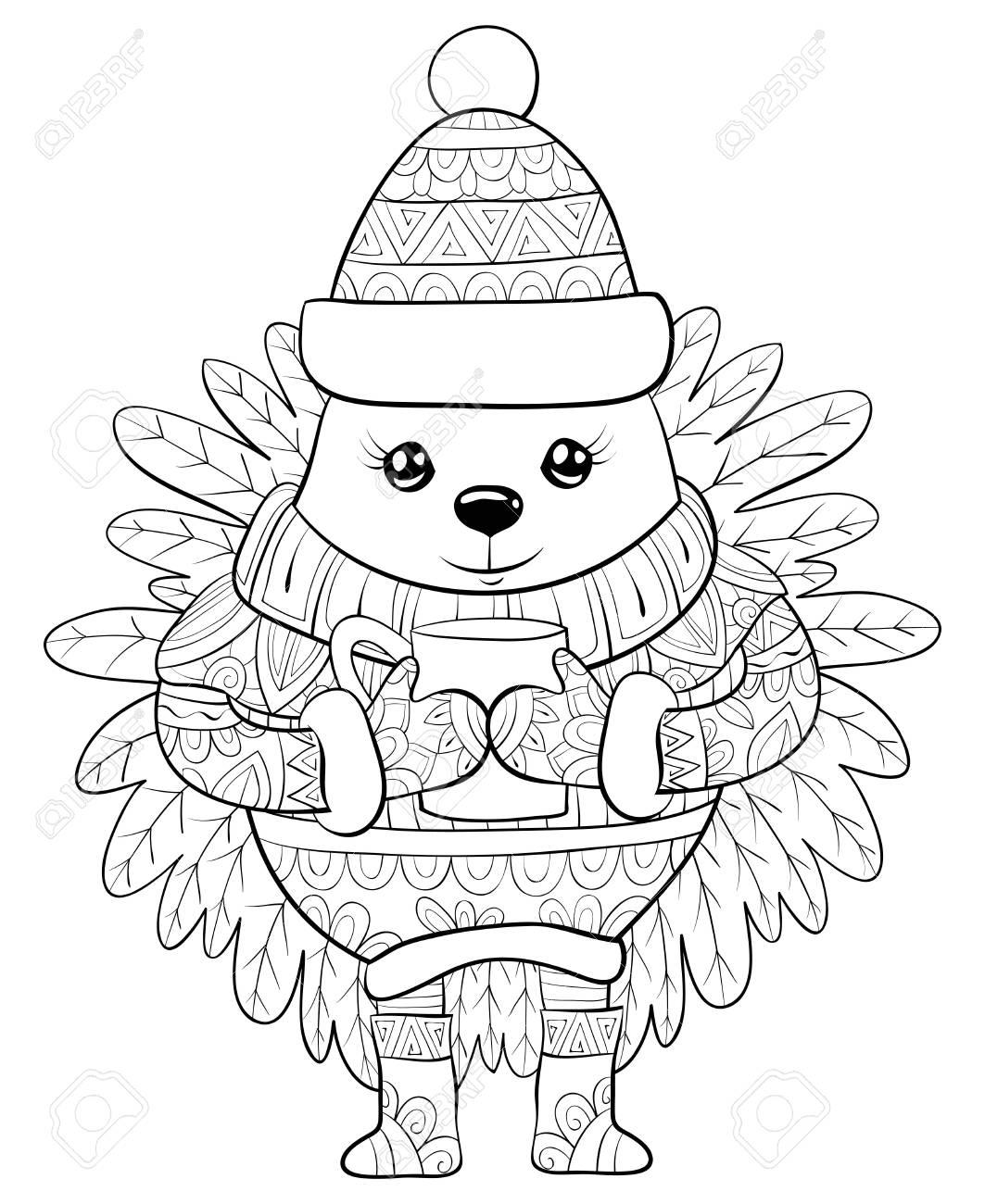 Christmas Boots Drawing.A Cute Cartoon Hedgehog Wearin A Christmas Cap Sweater Boots