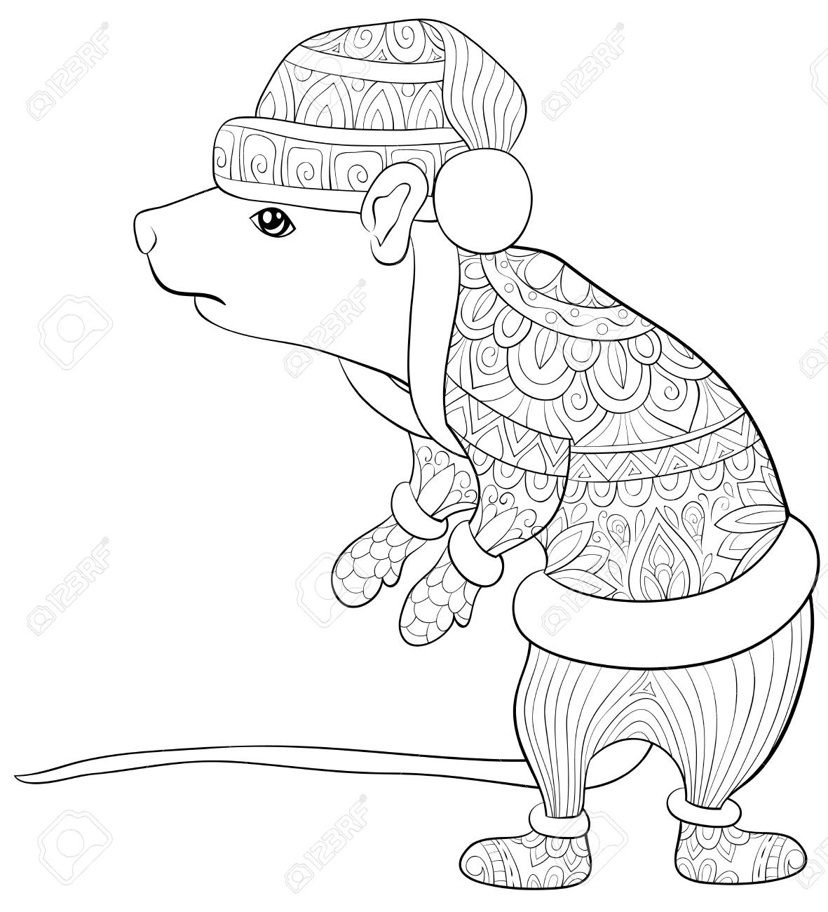 Christmas Boots Drawing.A Cute Rat Wearing A Christmas Cap Boots Scarf Mittens With Ornaments