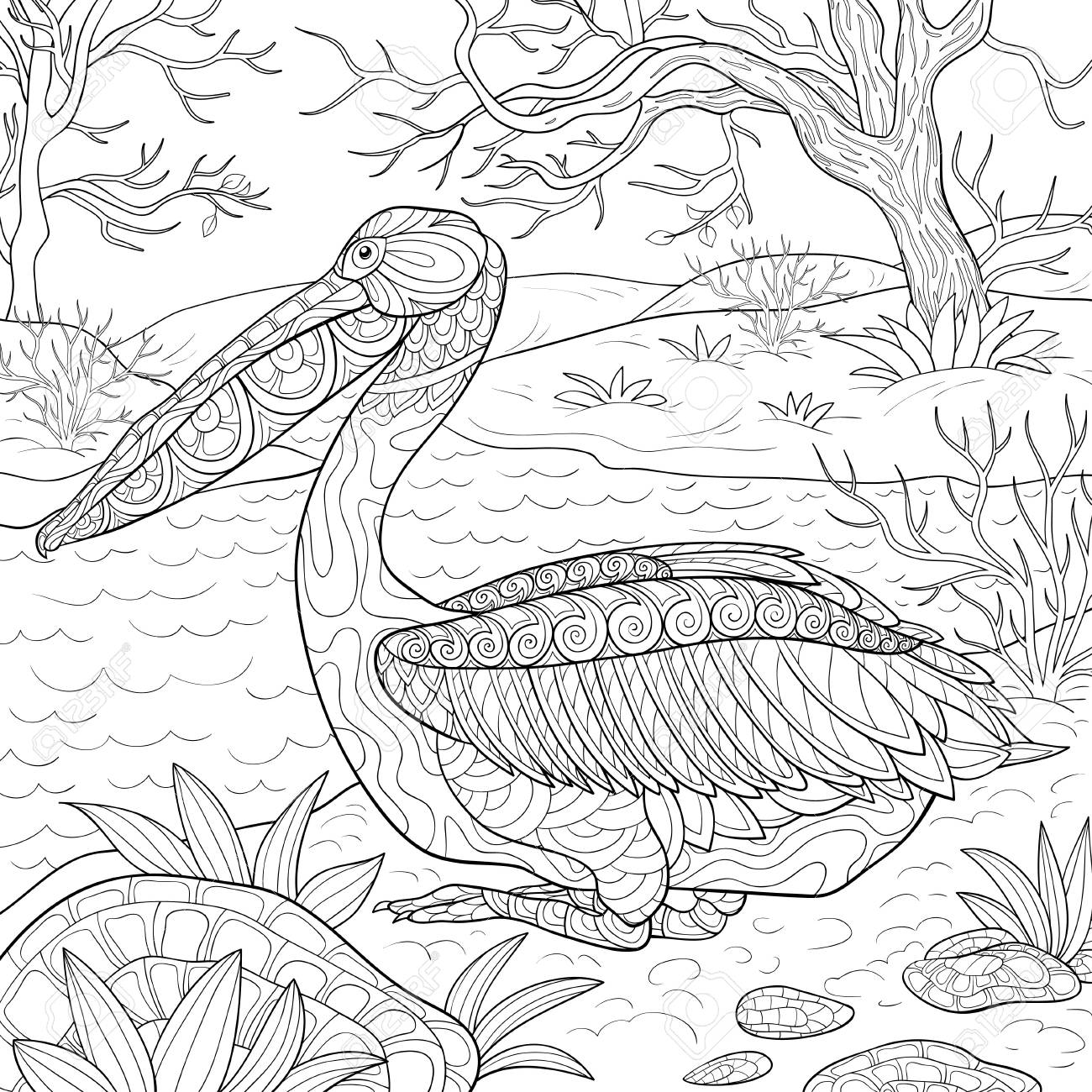 A cute pelican with ornaments on the nature landscape image for relaxing.Zen art style illustration for print.A coloring book,page for adults.Poster design. - 126842129