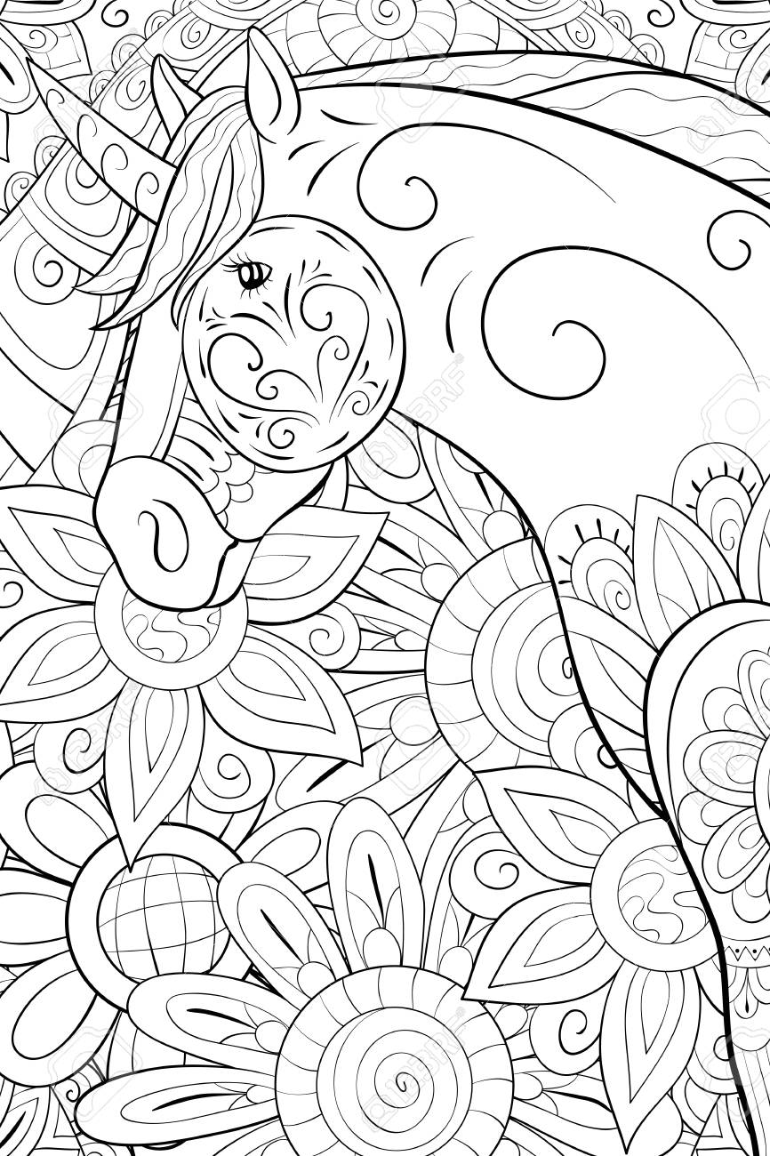 A Cute Unicorn On The Abstract Floral Background Image For Relaxing Activity A Coloring Book Page For Adults Zen Art Style Illustration For