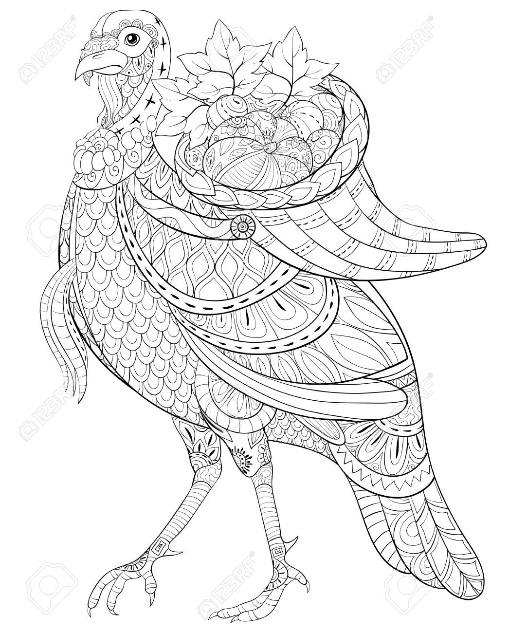 A cute turkey with a basket in his back full of fruits with ornaments image for relaxing activity.A coloring book,page for adults.Zen art style illustration for print.Poster design. - 126684325