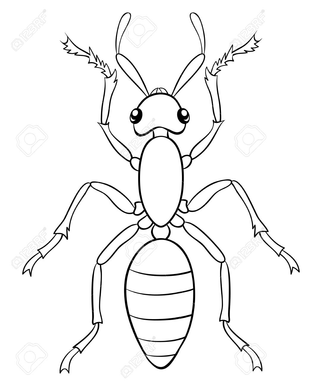 A Cartoon Ant Image For Relaxing Activity.A Coloring Book,page ...