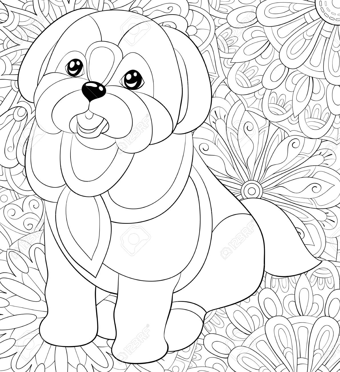 400+ Coloring Book Page Dog HD