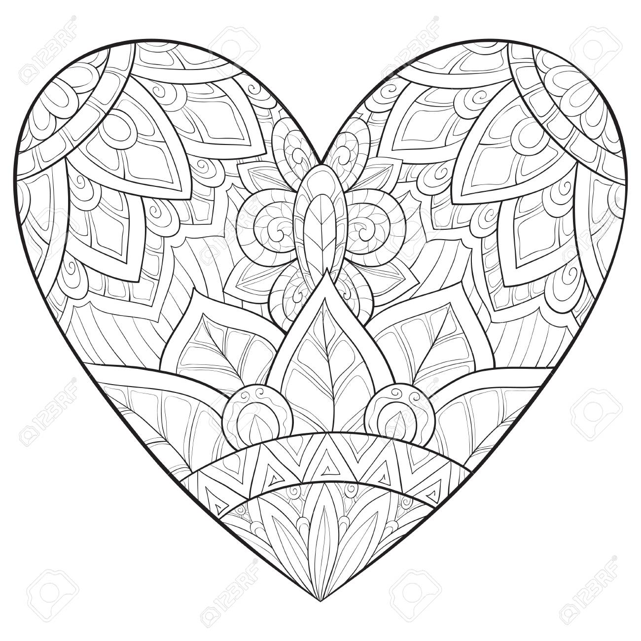 A Cute Heart With Ornaments Image For Relaxing Activity A Coloring Royalty Free Cliparts Vectors And Stock Illustration Image 114297666