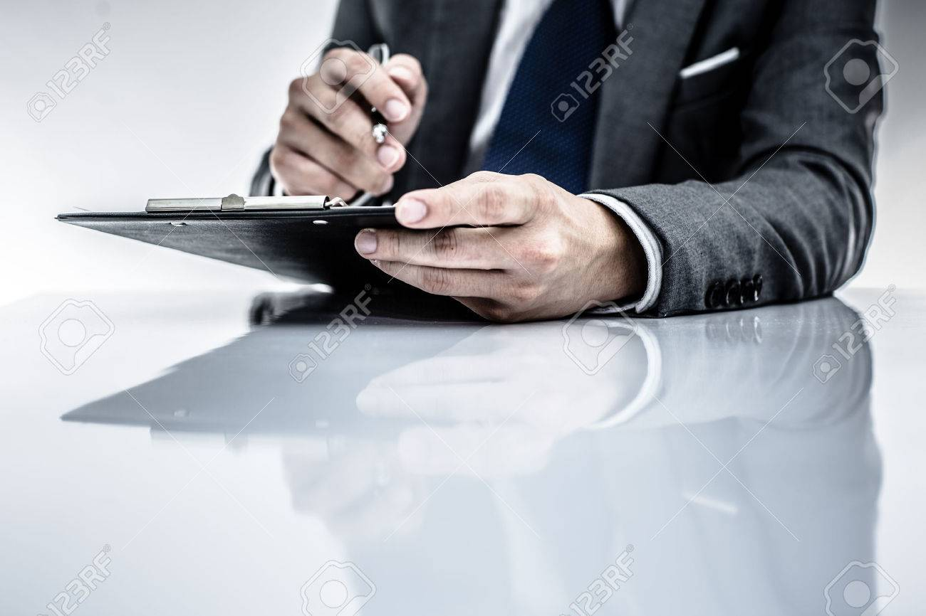 business report and man hand. Accounting Stock Photo - 30152879