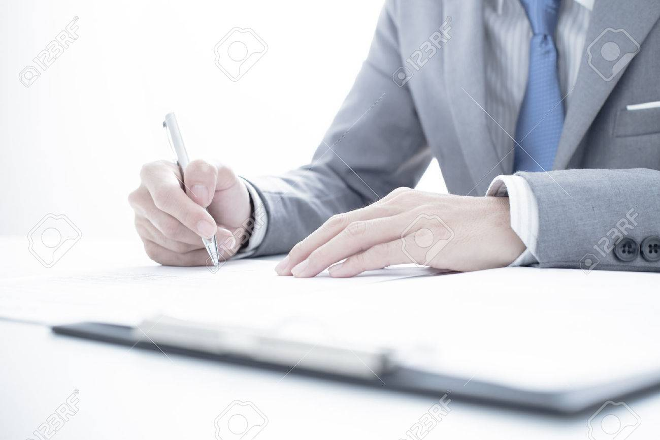 Business man signing a contract Stock Photo - 37314074
