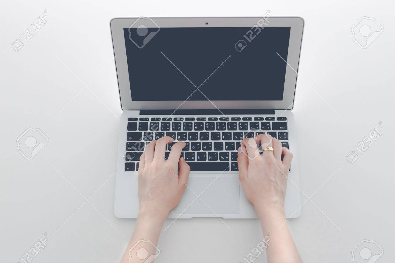 woman using her laptop Stock Photo - 40196624