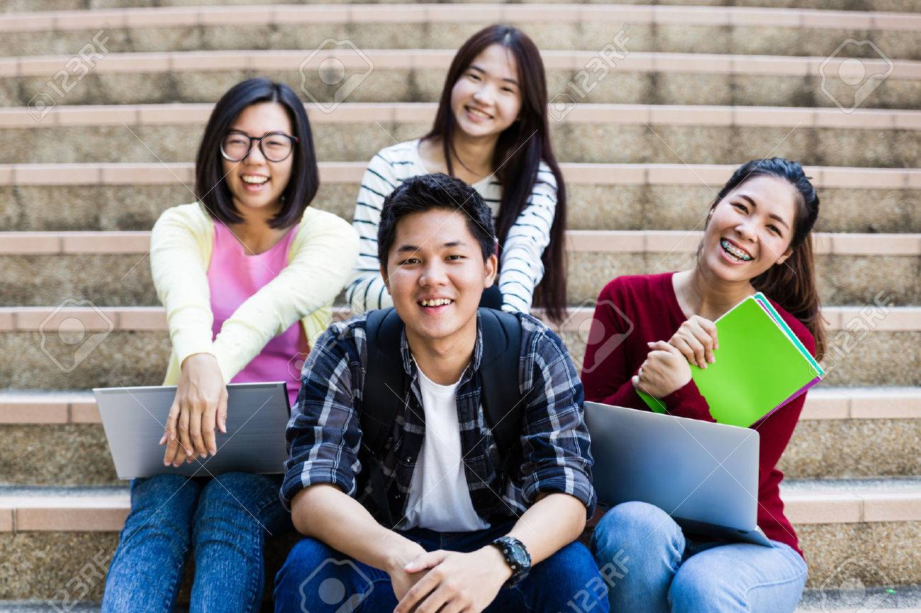 group of happy teen high school students outdoors Stock Photo - 50501235