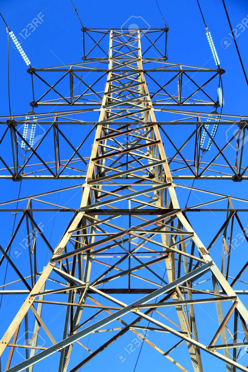 Toronto, Canada, June 13, 2012 - An overhead power line tower on December 26, 2010 in Toronto. The first practical use of overhead lines was in the context of telegraphy in 1837. Stock Photo - 14223942