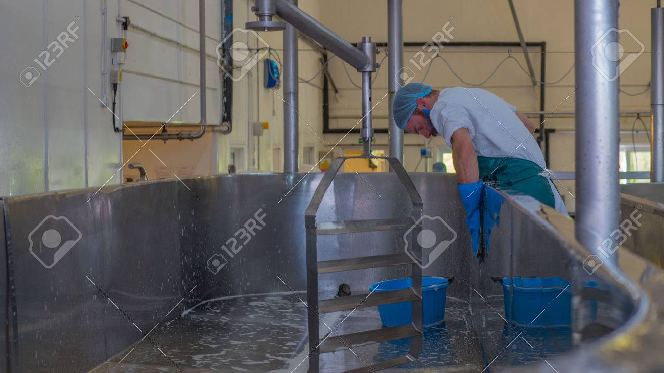 Man cleaning industrial cheese vat inside a factory - 58891749