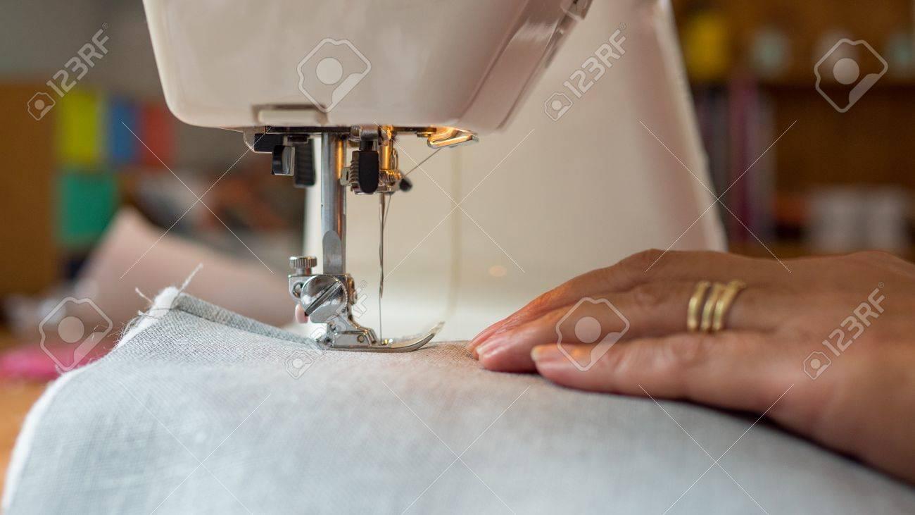sewing machine stitching fabic - 80844902