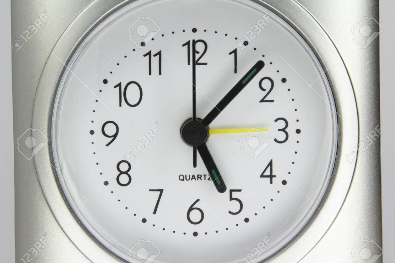 Desktop Quartz Alarm Clock Isolated On White Background Stock Photo