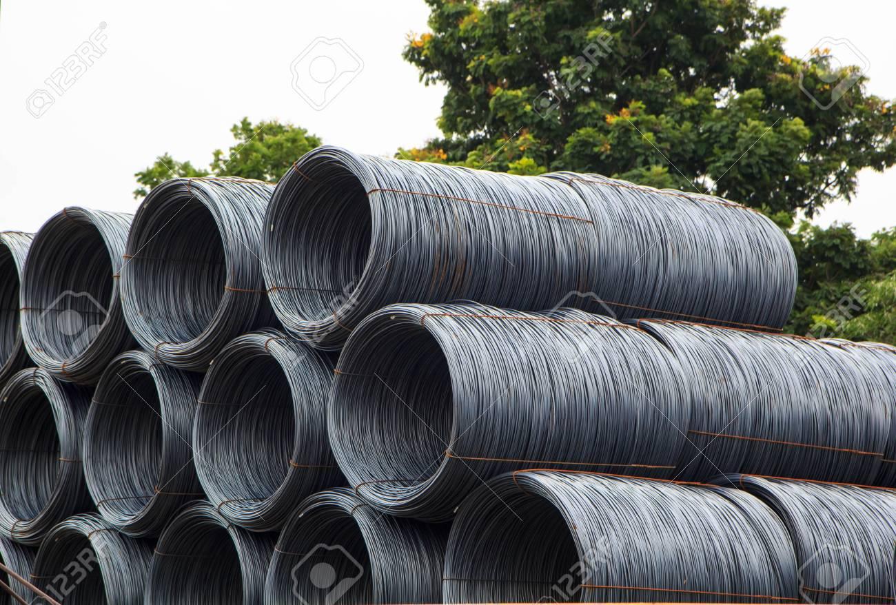 steel rebar in a factory producing steel
