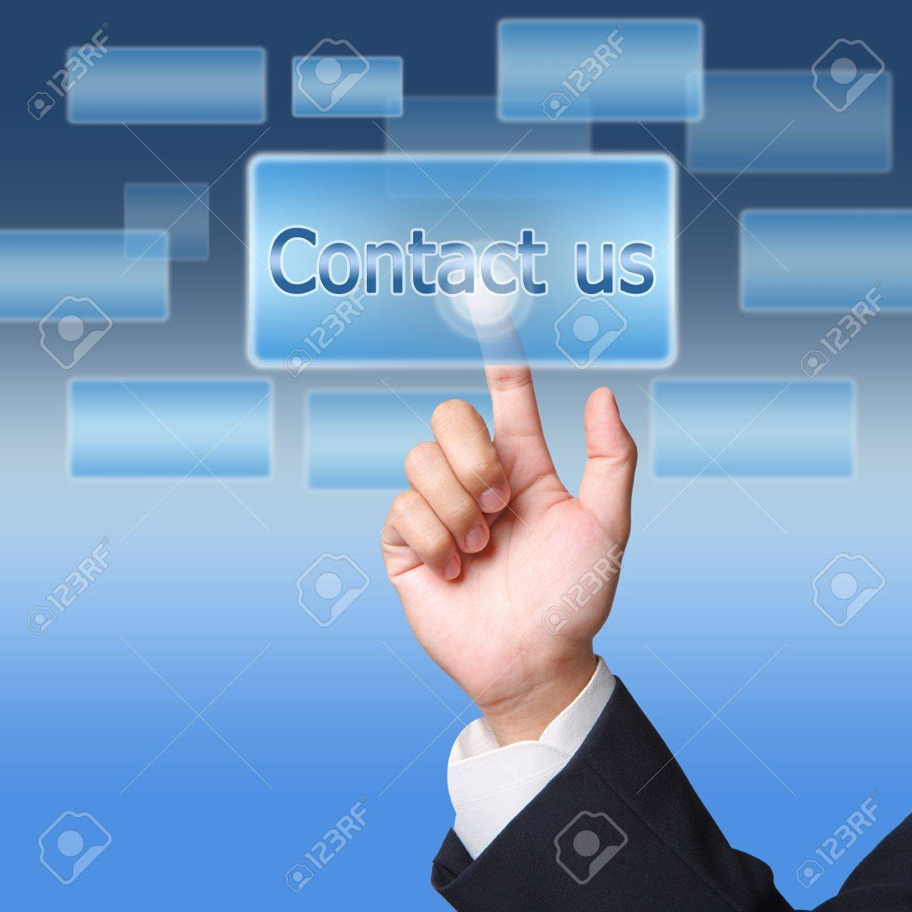 pushing contact us  button on a touch screen interface Stock Photo - 12659834