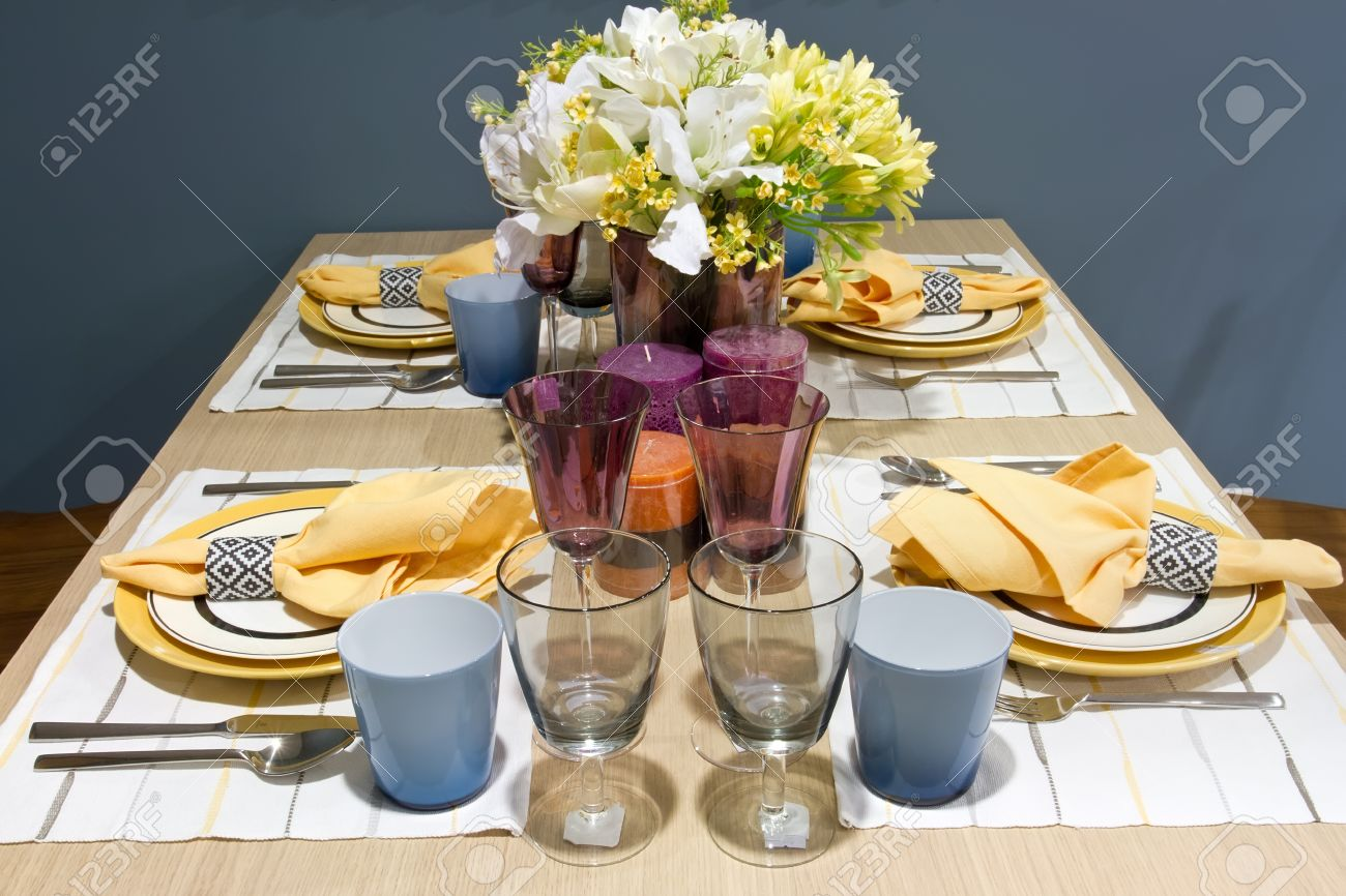 dinner table setup Stock Photo - 15354570 & Dinner Table Setup Stock Photo Picture And Royalty Free Image ...