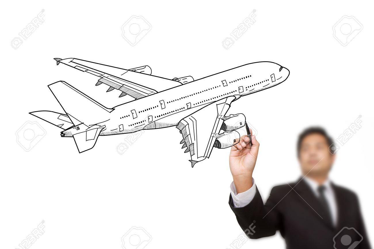 Businessman Drawing Airplane Stock Photo - 15445664