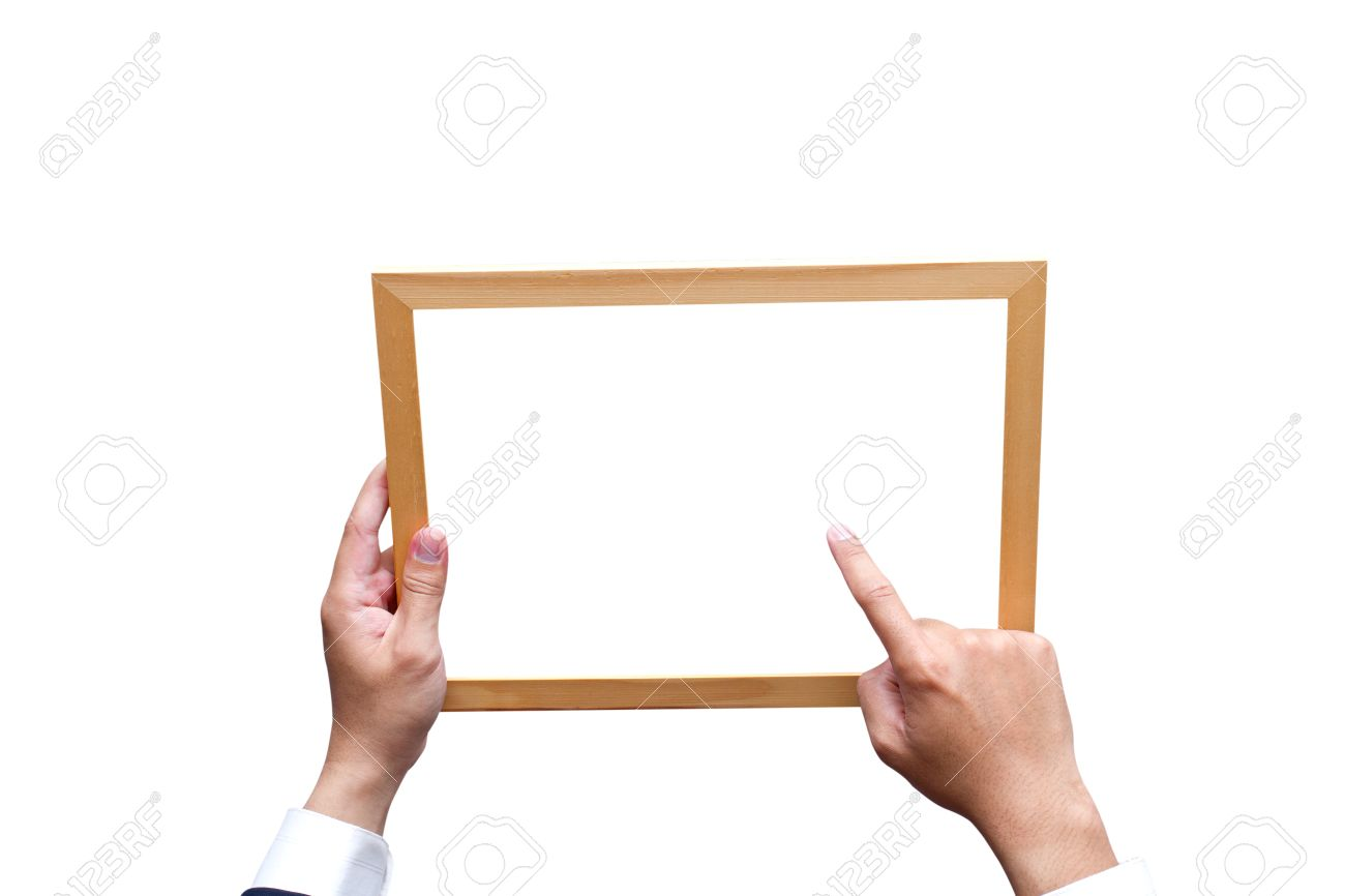 Hand Holding Wooden Frame Isolated On White Stock Photo, Picture And ...
