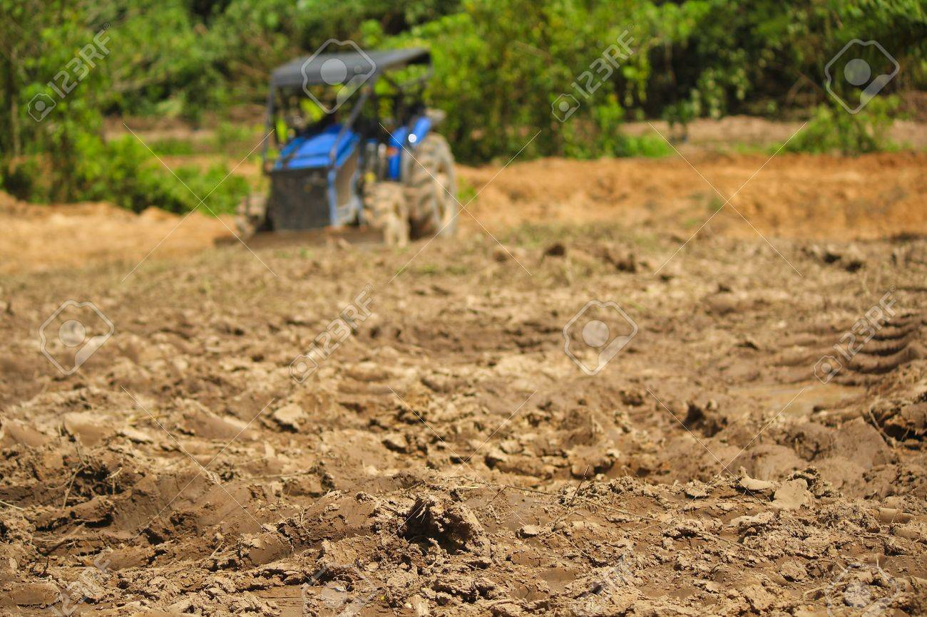 Tractors are plowing the soil for planting  Tractors Stock Photo - 17031798