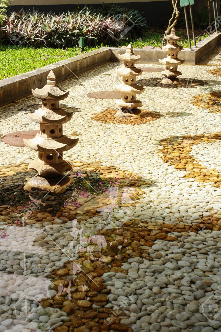 stone castle model decor garden designs stock photo, picture and