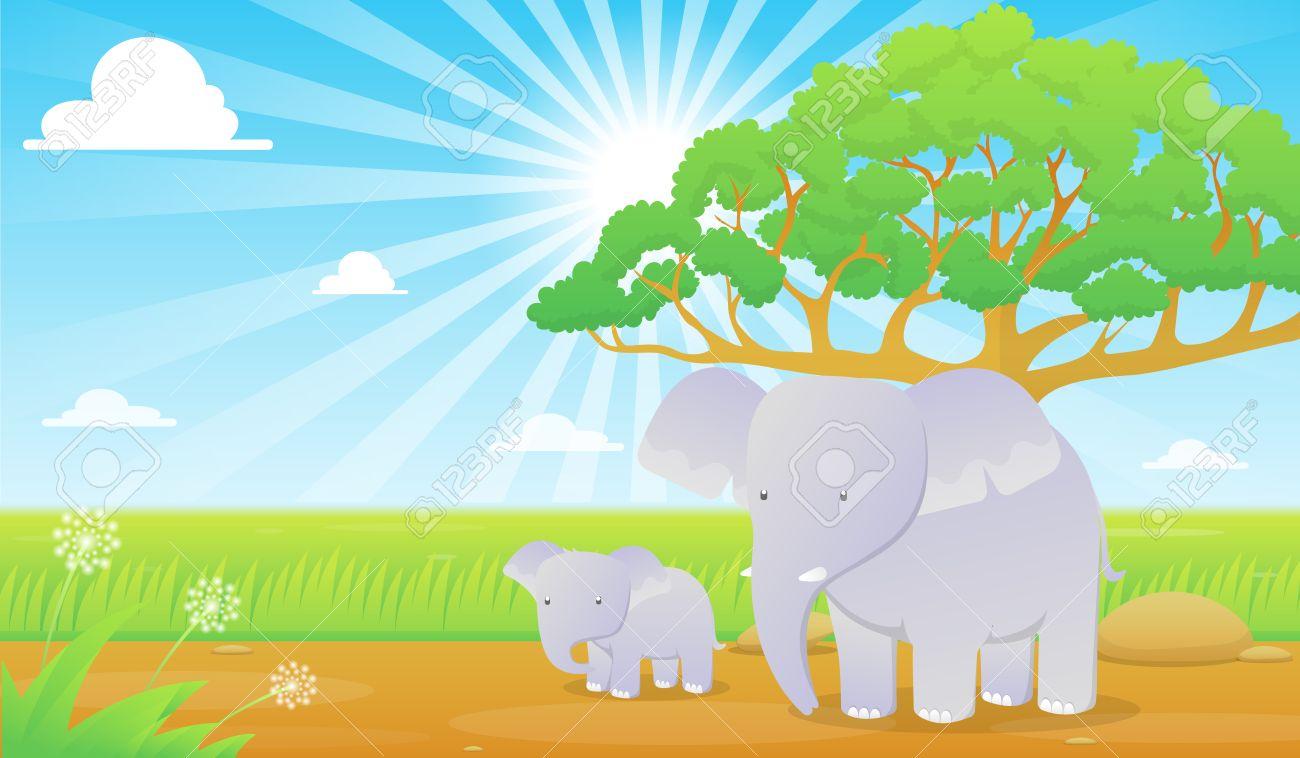Download Wallpaper Cartoon Elephant - 56089044-elephants-in-grassland-cartoon-wallpaper  Picture_503425  .jpg