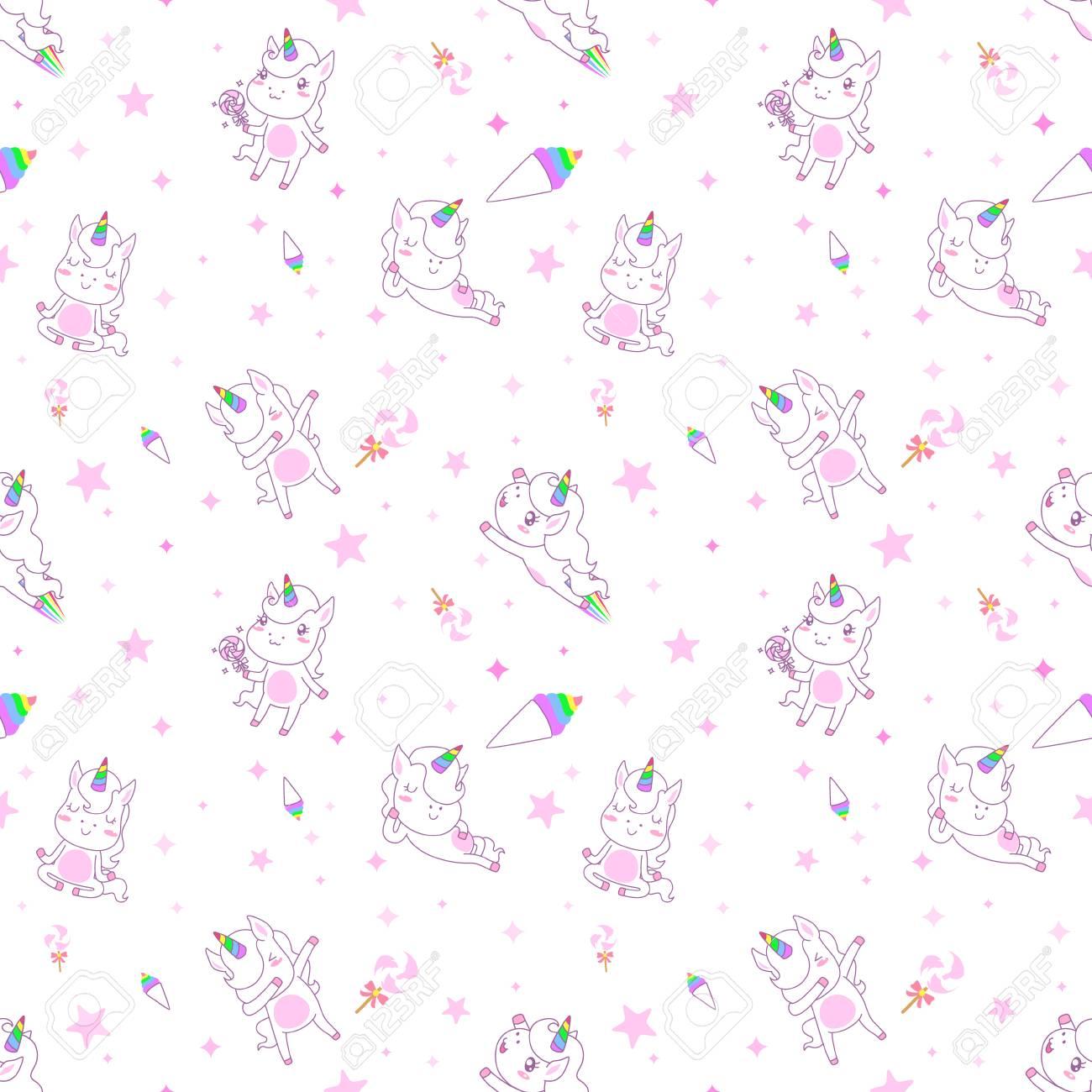 Cute Unicorn Seamless Pattern Vector Wallpaper