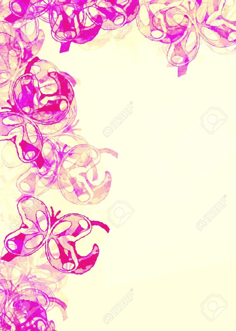 Papel Coloreado Con Un Borde De Mariposa De La Tarjeta De La Nota La Invitación Cumpleaños O Cualquier Ocasión Especial