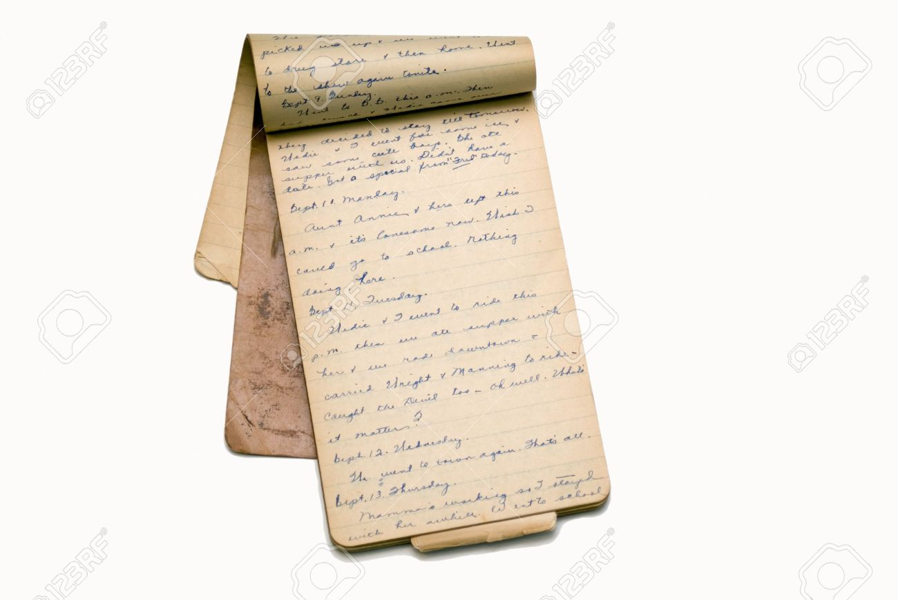 An old notepad used as a diary for a girl in college in1928. Stock Photo - 7473709