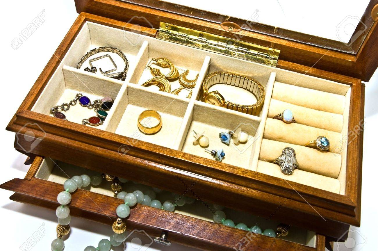 An Open Jewelry Box With Bracelets Necklaces Rings Earrings