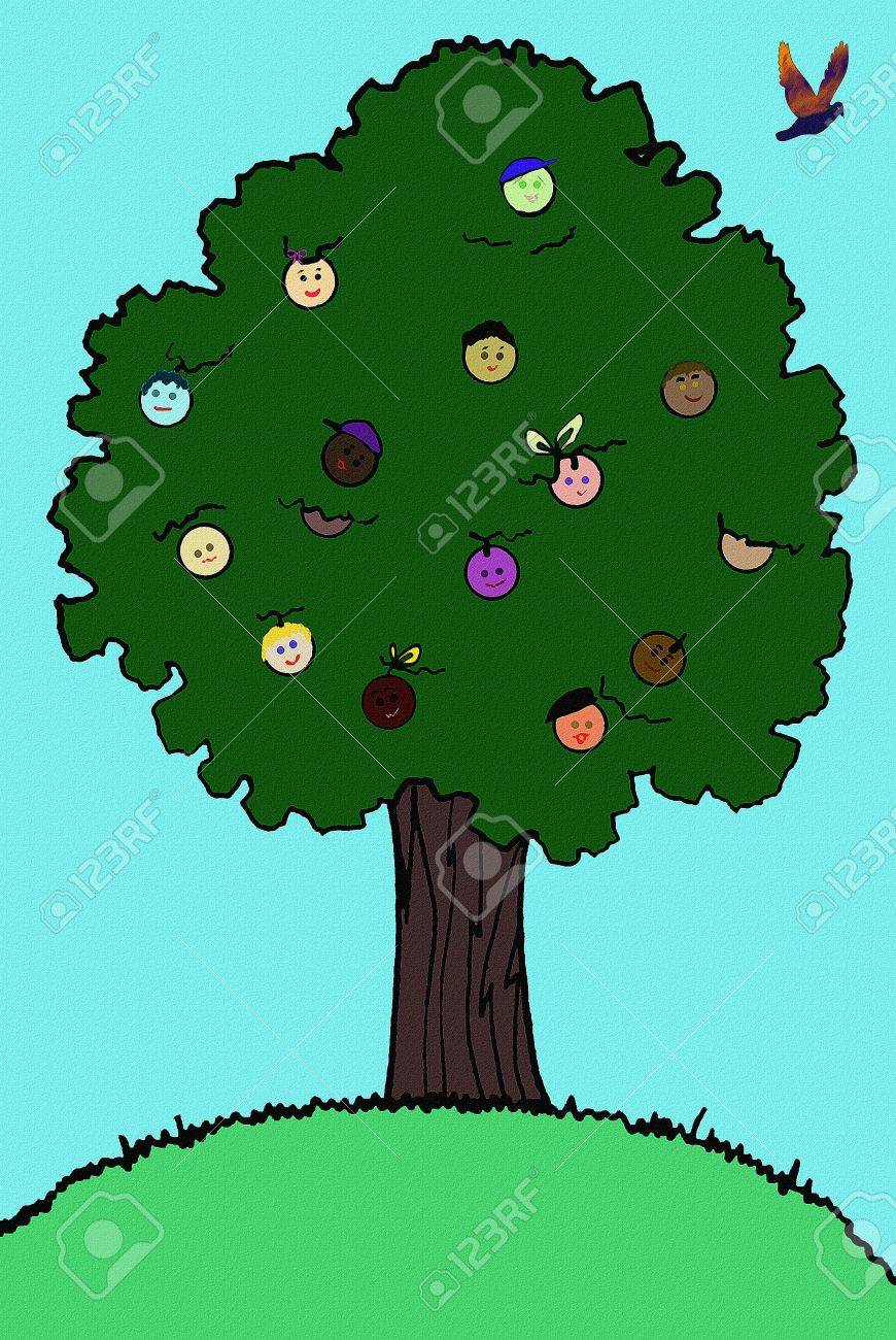 A tree bearing fruits of faces.  Illustration for the diversity of the earth and a green, Earth Day concept. Hand drawn with computer enhancements. Stock Illustration - 7593255