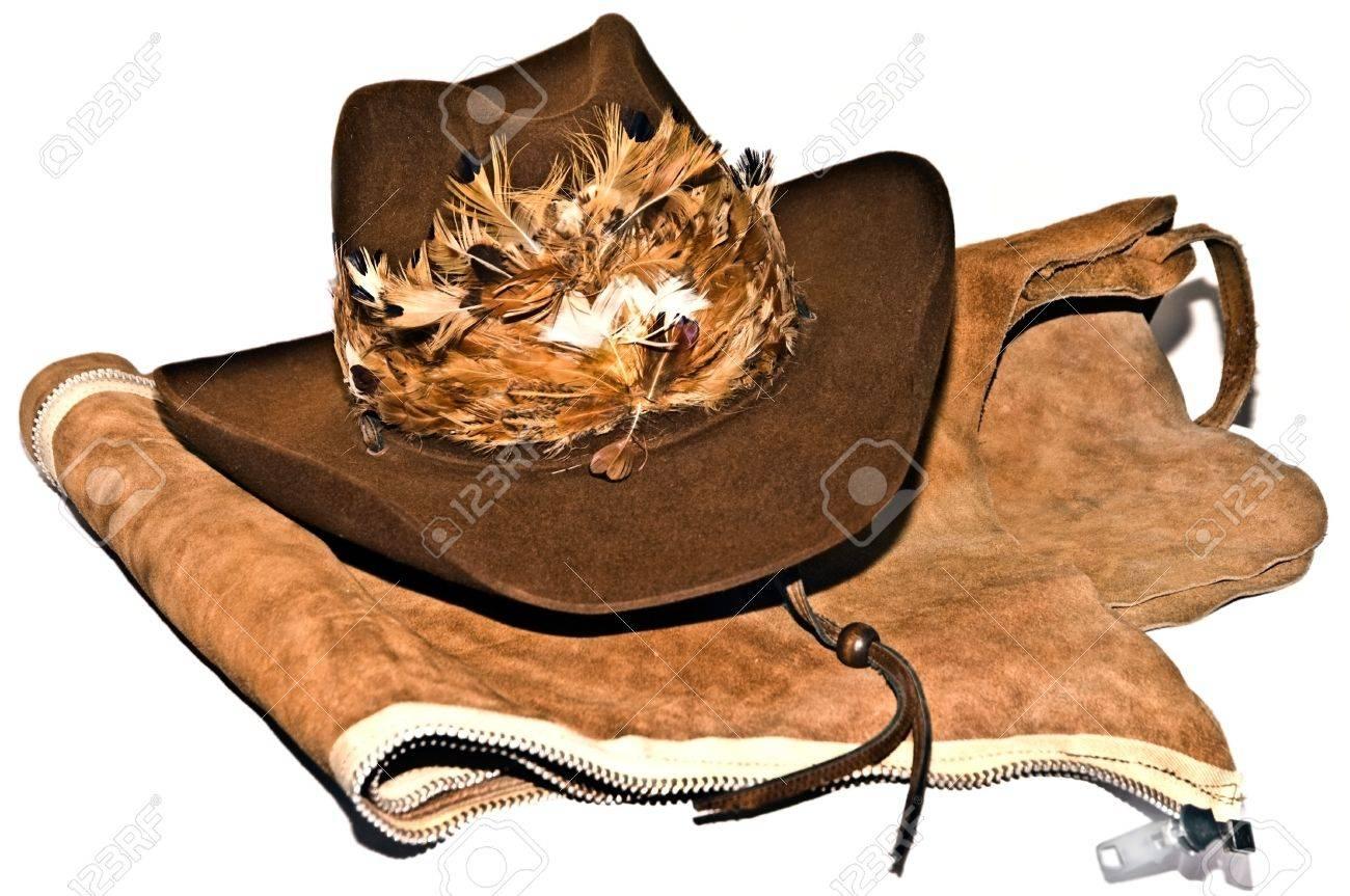 5d7fffd0a A decorative cowboy hat on a pair of leather chaps.