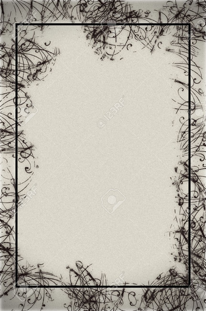 Abstract Border Design On Textured Paper In Black And White Stock