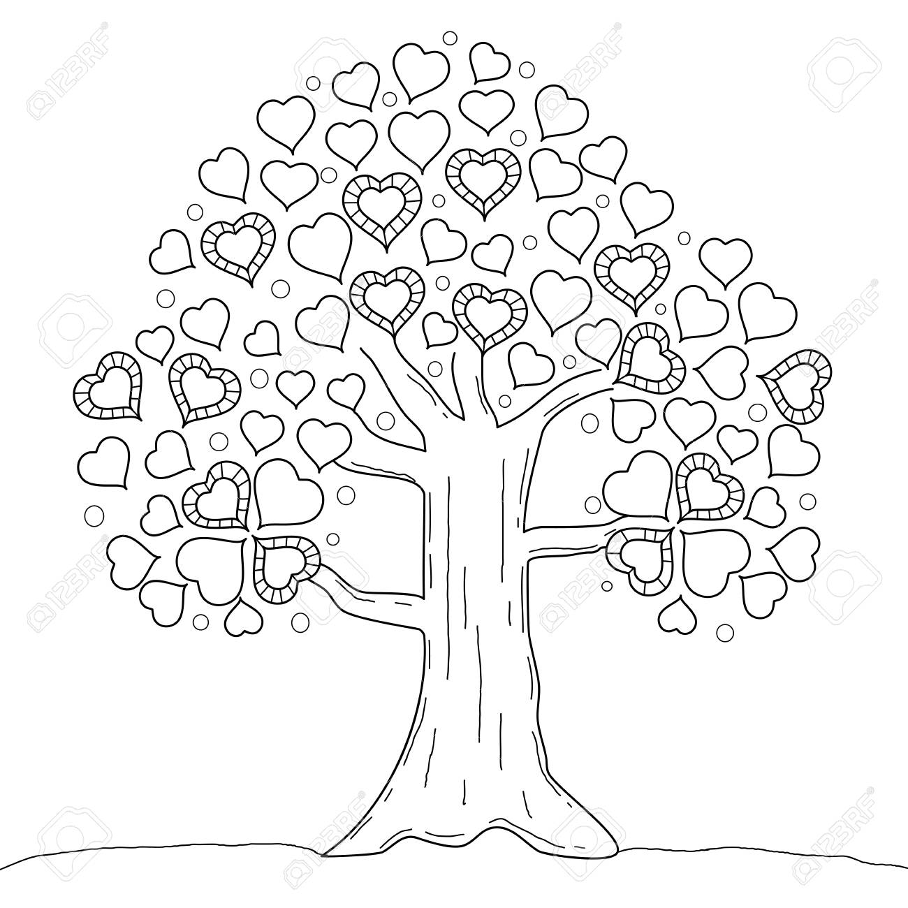 Coloring Book Page Of Tree Heart Valentine S Day Vector Illustration Royalty Free Cliparts Vectors And Stock Illustration Image 100203824