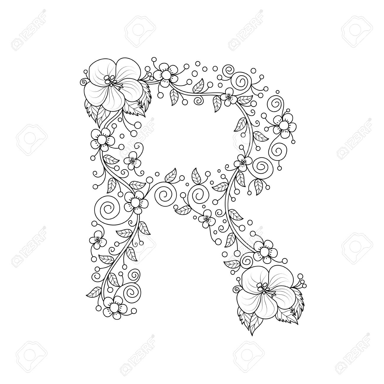 Floral Alphabet Letter R Coloring Book For Adults Vector
