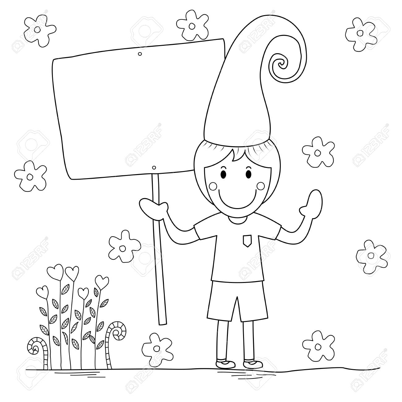 - Cute Boy Holding Empty Banner Coloring Book For Adult And Kid