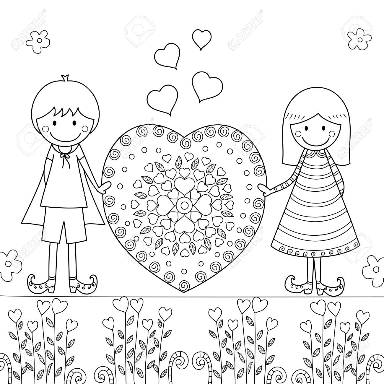 - Boy And Girl With Love In Valentine's Day Coloring Book For