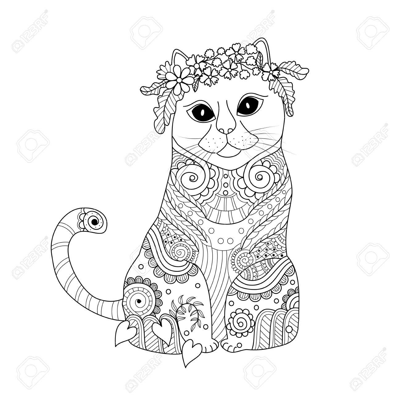Coloring Book Page Of Cat Doodle Style. Lizenzfrei Nutzbare ...
