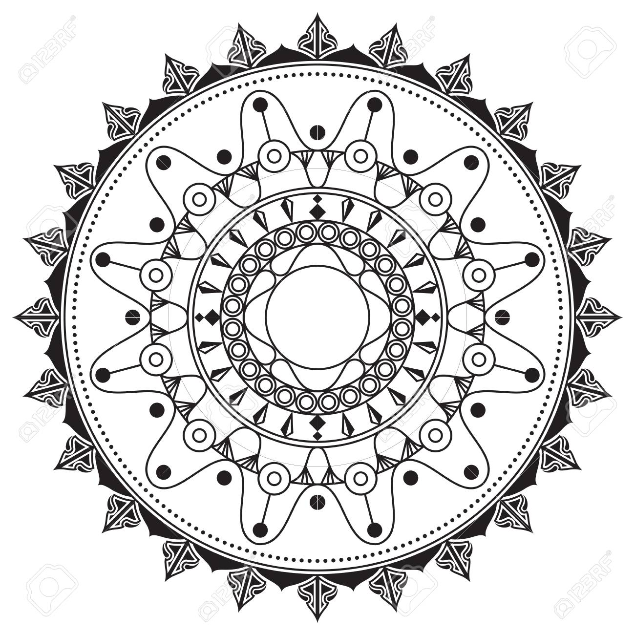 Mandala Hand Drawn Image For Backgrounds And Adult Coloring