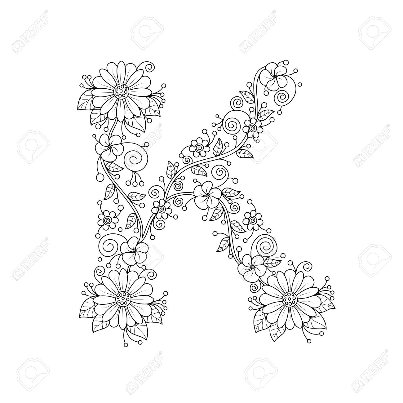Floral Alphabet Letter K Coloring Book For Adults. Vector ...
