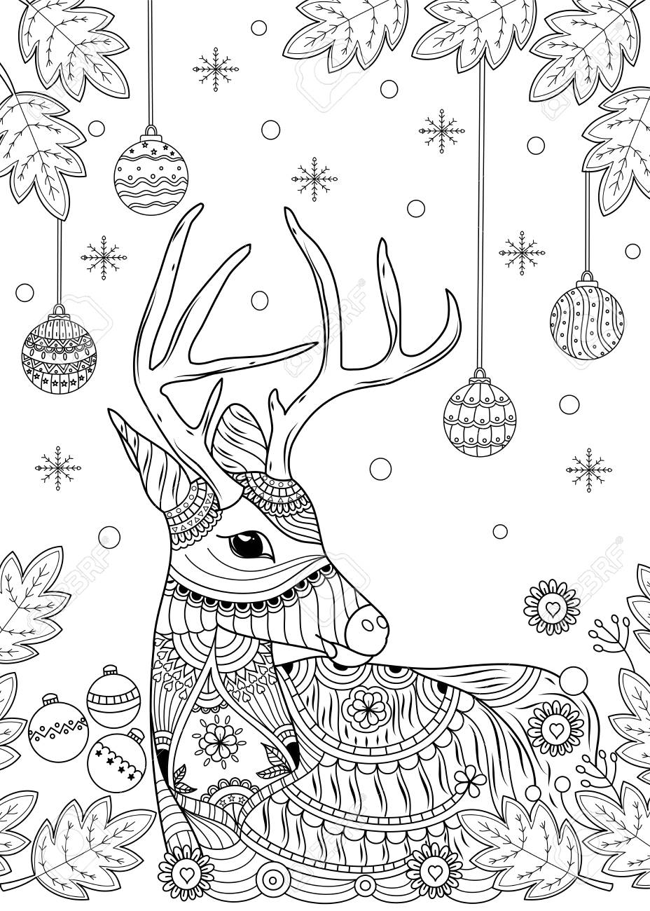 Christmas reindeer coloring book for adult and children. vector..