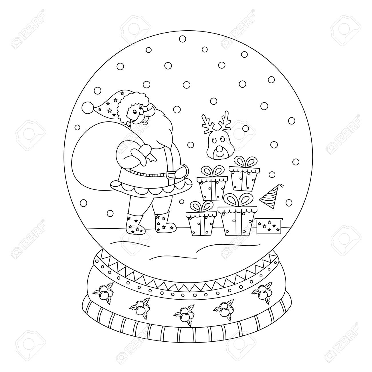 Coloring Book Page Of Christmas Snow Globe With Santa Claus Royalty Free Cliparts Vectors And Stock Illustration Image 100204469