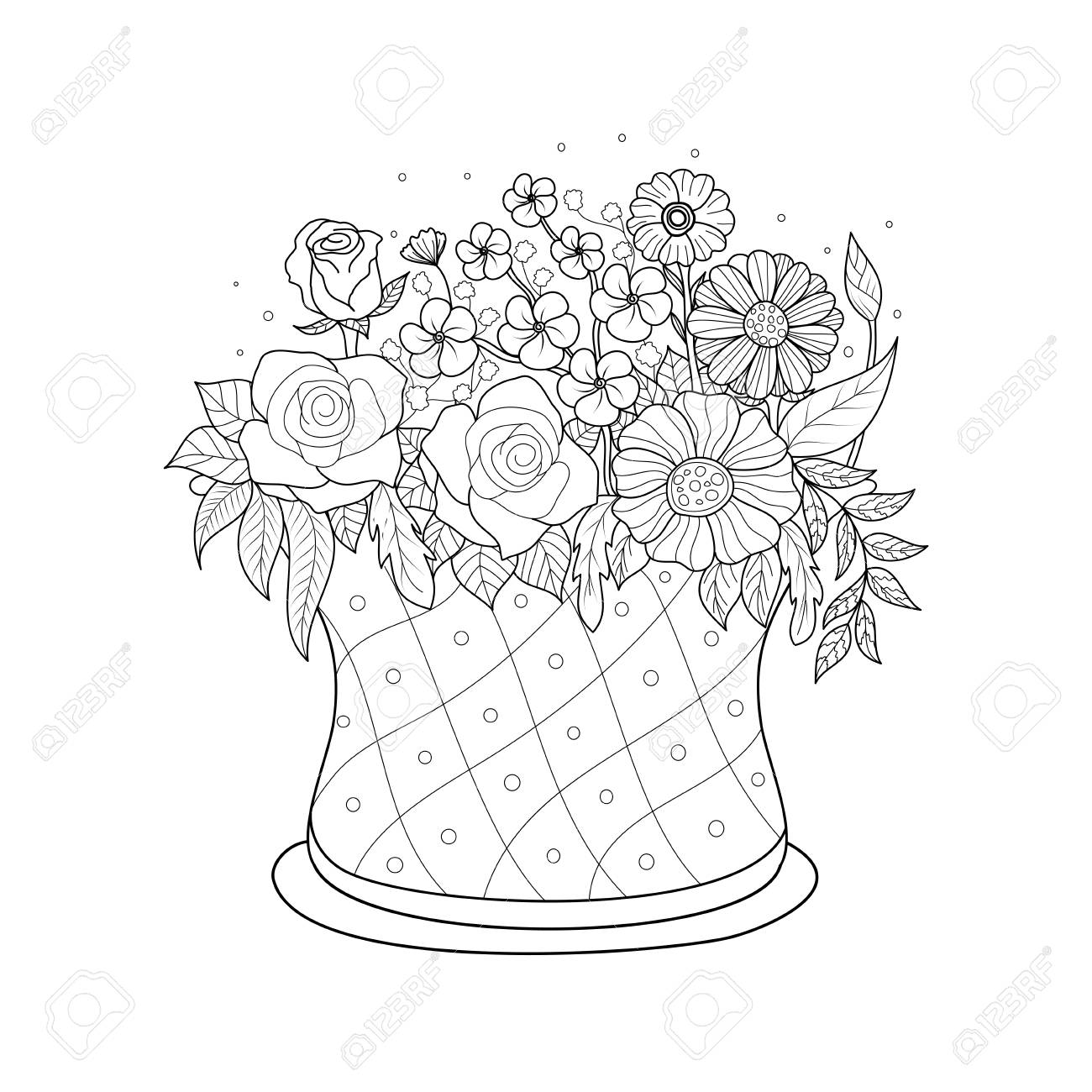 Coloring Book Page Of Flower Basket For Adult.Valentine\'s Day ...