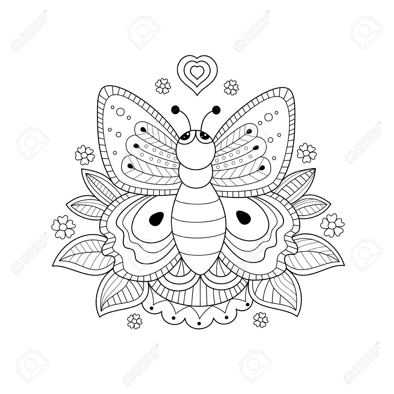 Butterfly coloring book for adult and kids. Handdrawn. Vector illustration. Doodle style. - 126186638
