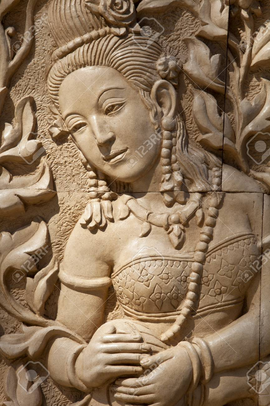 Stock Photo - Thai lady art clay wall clay wall decoration & Thai Lady Art Clay Wall Clay Wall Decoration Stock Photo Picture ...